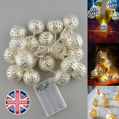 UK SALE 20x Battery Moroccan Metal Ball LED Fairy String Lights Lamp Warm White