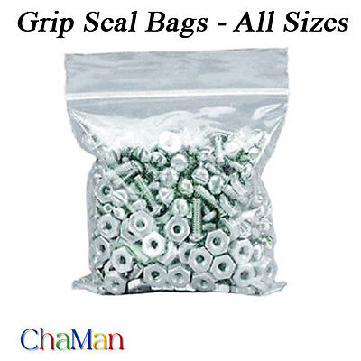 Heavy Duty Grip Seal Zip Lock Poly Plastic Bags 350 Gauge Resealable All Sizes