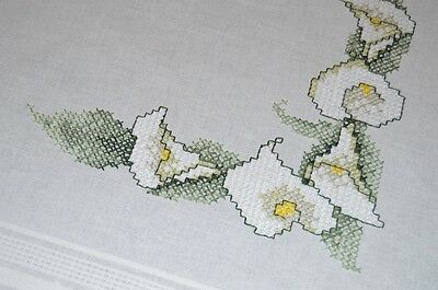 Calla Lily Sprays For Easter! Vintage German Spring Hand Embroidered Tablecloth