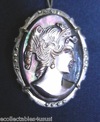 Cameo Brooch Black Purple Mother Of Pearl Antique 800 Solid Silver Marcasite