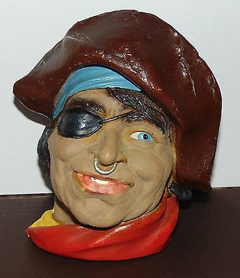 Vintage Chalkware Pirate head eye patch gold nose ring no makers mark