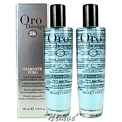 Diamante Puro Fluid 100ml x 2 Sensibilized & Stressed Hair Oro Therapy Fanola ®