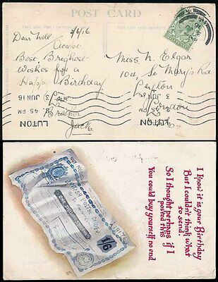 GB POSTAL ORDER on POSTCARD 1916 USED LUTON to LEYTON