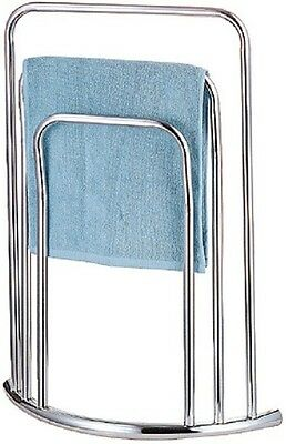 Chrome 3 Tier 3 Bar Towel Rail Bow Fronted Curved Free Standing Stand Bc82