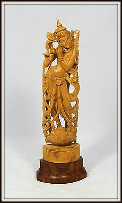 """Finely Carved Wooden Lakshmi on a Wooden Base from India"" 12.5"" High x 4"" Wide"