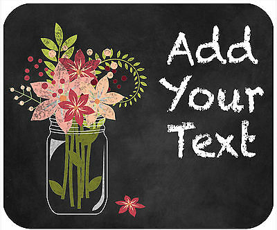 Mouse Pad Custom Personalized Thick Mousepad-Chalkboard Mason Jar With Flowers