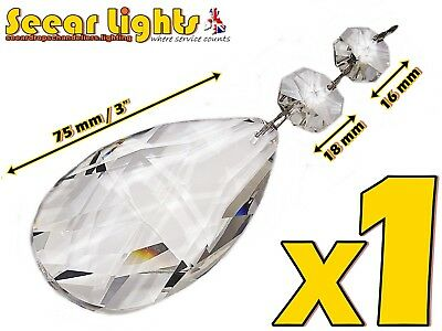 12 Xl Chandelier Drops Glass Crystals Giant Oval Prisms Antique Look Droplets Bn