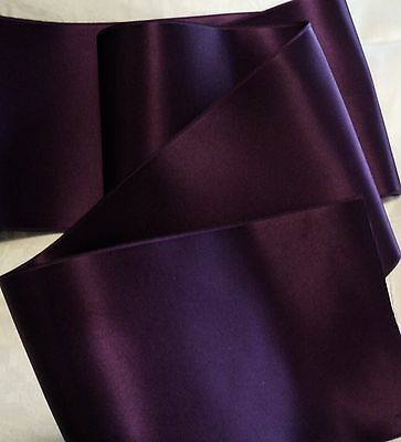 "4"" Wide Swiss Double Face Satin Ribbon- Plum - Eggplant  Bty"