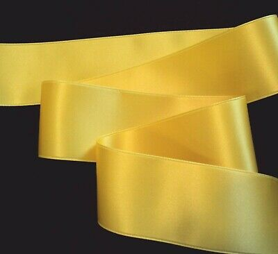 """MARIGOLD YELLOW 2-3//4/"""" WIDE SWISS DOUBLE FACE SATIN RIBBON"""