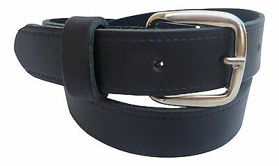 Boys Black Real Leather Dress / School Belt with Silver Buckle
