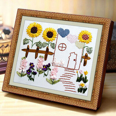 Beginner Ribbon Embroidery Kit Sunflowers Garden Needlework Craft Kit RE3075