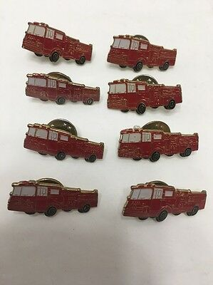 """Lot Of 8 Red Fire Truck Hat Pin Lapel Pins Great For Field Trip 1 1/8"""" Long"""