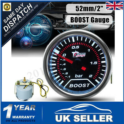 """2"""" 52mm 12V SMOKED BAR WHITE LED LIGHT TURBO BOOST CAR AUTO GAUGE METER Dials"""