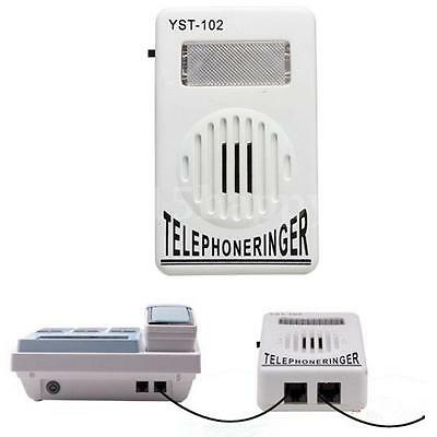 White ON/OFF Switch Telephone Ring Sound Amplifier Light Flasher Bell Ringer NEW