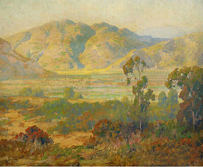 Oil painting maurice braun - Desert Panorama with mountains landscape handpaint