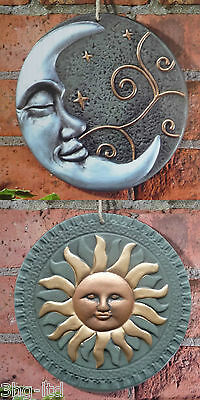 Terracotta Sun or Moon Garden Wall Plaque Ornament Outdoor Art Decoration New