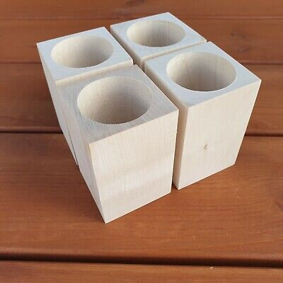 Set Four  Wooden Square Cups, 100% of Natural Wood