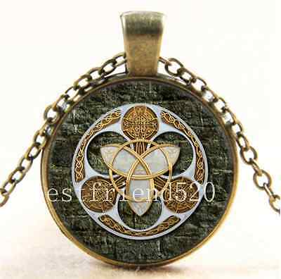 Vintage Celtic Shield Photo Cabochon Glass Bronze Chain Pendant Necklace