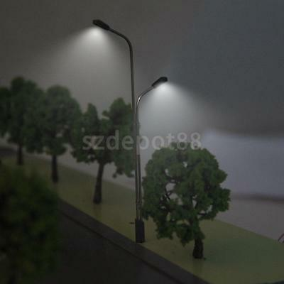 10pcs LED Light Dual Lamppost HO OO Scale Model Layout Garden Street Diorama