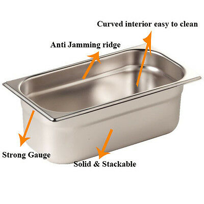 Stainless Steel 1/4 Gastronorm Pan 2.5Ltr/100mm Deep Food Container