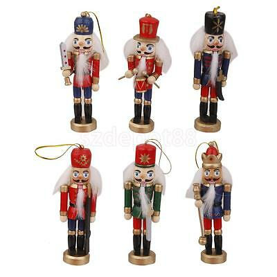 6 Handpainted Wooden Nutcracker Toy Solider Hanging Decoration Ornament 12cm