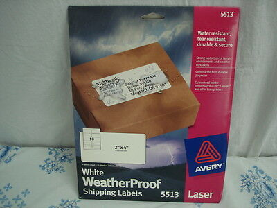 """Avery White Laser Shipping Labels 2"""" x 4"""" Weather Proof, Tear Resistant #5133"""