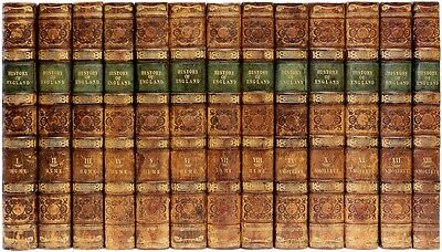 HUME-SMOLLETT - The History of England - 13 volumes - IN A FINE LEATHER BINDING!