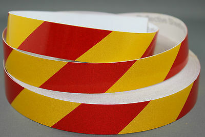 3M Yellow/Red Class 2 (3200 Series) Reflective Tape 25mm x 10m RIGHT