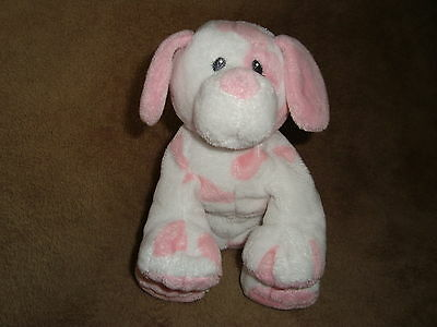 TY 2010 PLUFFIES DOG Baby Pups Pink & White 8""
