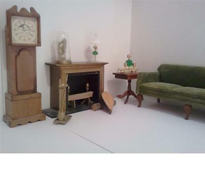 Vintage Wood Dollhouse Furniture Living Room Set Fireplace Grandfather Clock