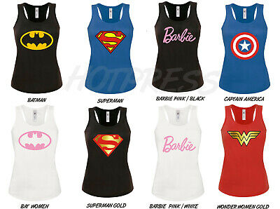 Wonder Womens t shirt Batman Barbie superman captain america Vest Tank Top S-XL