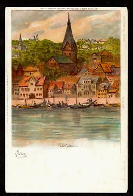1901 a/s bilsey waterfront flensburg germany postcard