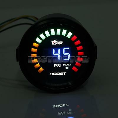 "2"" 52mm Universal Digital 20 LED Auto Car Boost Gauge Meter -15~45 PSI W/ Sensor"