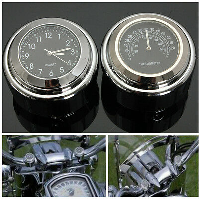7/8'' 1'' Universal Motorcycle Handlebar Mount Dial Clock & Temp Thermometer uk
