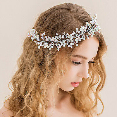 Vintage Wedding Bridal Crystal Charm Pearl Hair Accessories Headband Band Tiara