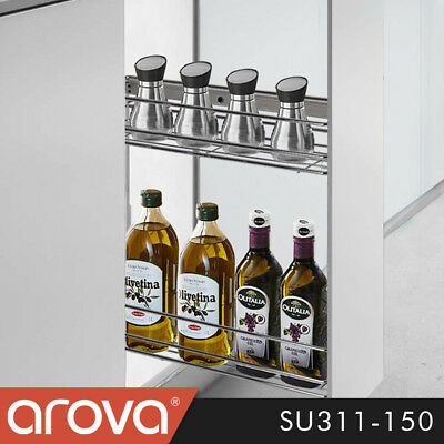 Pull Out Spice Shelf Pantry Rack Kitchen Under Bench Wire Basket Narrow 150mm