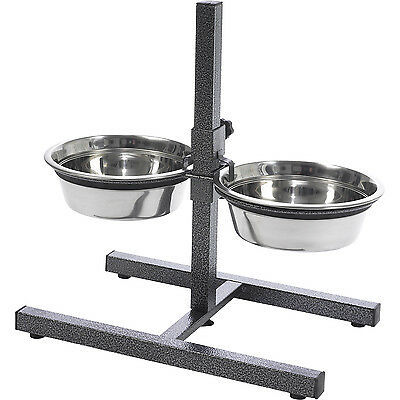 Stainless Steel 2 QT Dog Bowls Water Bowls Stand With Adjustable Height