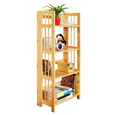 Four Tier Tropical Hevea Wood Folding Shelf Unit.