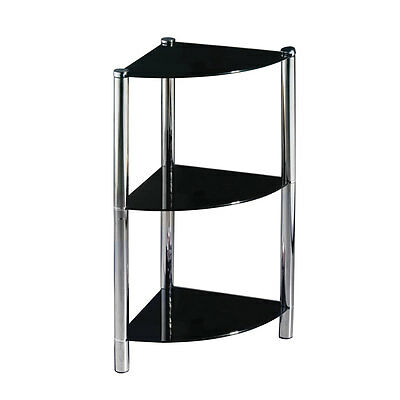 Black Glass And Chrome Finish Corner Unit With 3 Tiers.