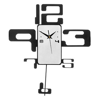 Black And White Pendulum Wall Clock With Retro Numbers.