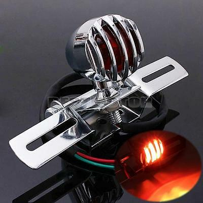 Chrome Steel Motorcycle Rear Brake Stop Tail Light For Harley Chopper Cafe Racer