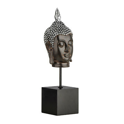 Polyresin Buddha Head With Silver And Brown Finish On Black Stand.