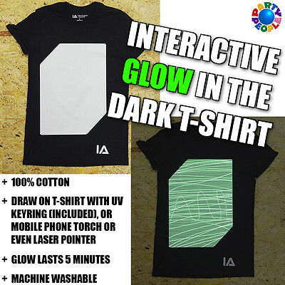 Interactive Draw On Glow In The Dark T-Shirt - Adult & Child Sizes Available