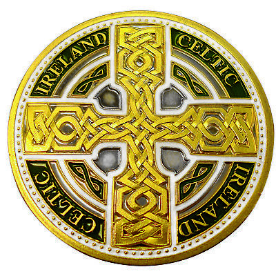 Collectors Edition Coloured Celtic Knot Cross with Ireland and Celtic Text Token
