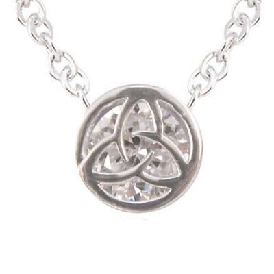 Silver Plated Round Pendant With Trinity Knot Shaped Cubic Zirconia Crystal