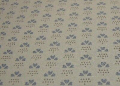 """Pre-pasted Blue Hearts Wallpaper - Dollhouse Miniatures - 18"""" x 11""""- NOS"""