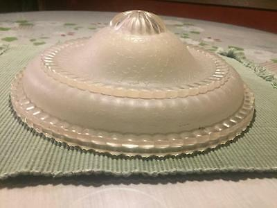 Antique Art Deco Vintage GLASS Ivory CEILING LIGHT SHADE Frosted Architectural