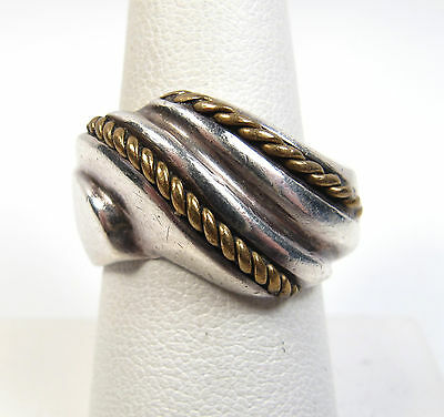 Vintage Sterling Silver Solid Band Ring Taxco Mexico Twisted Brass Size 8-1/4