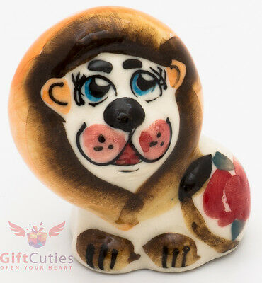 Playful lion Leon Collectible Gzhel style Porcelain Figurine hand-painted