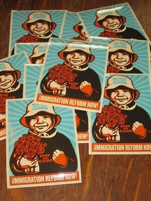 Sheppard Fairey 10 Sticker Pack - Immigration Reform Now human rights obey
